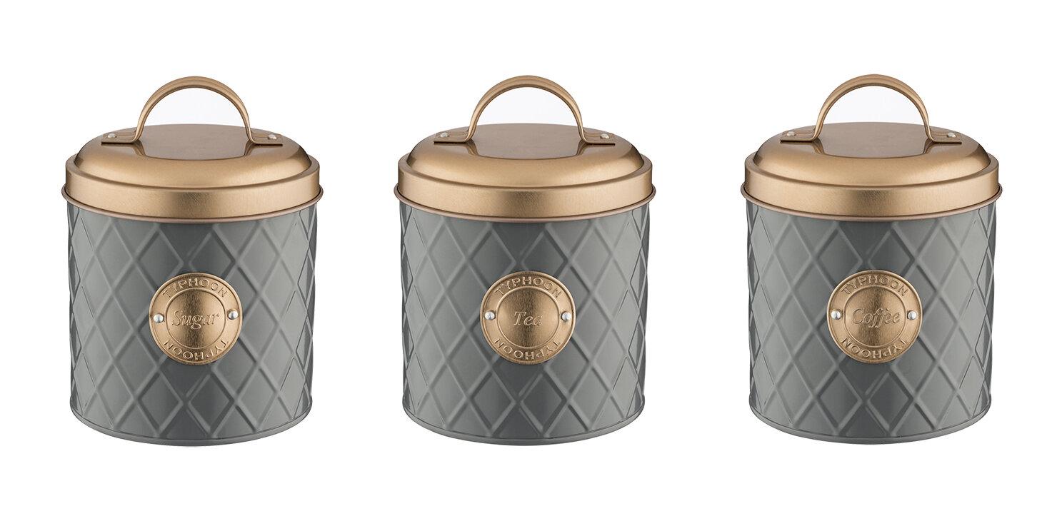 Copper Lid 3 Piece Coffee Tea Sugar Jar Sets