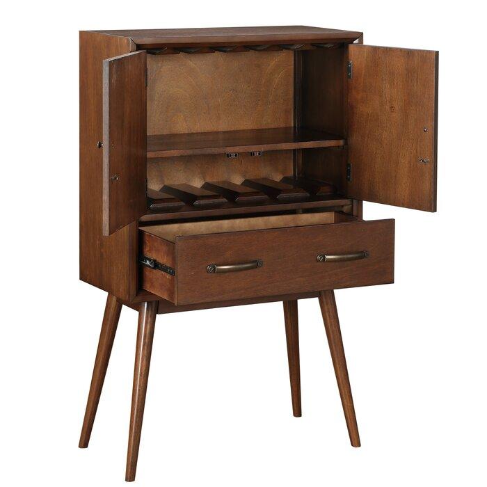 Ripton Mid Century Modern 4 Bottle Floor Wine Cabinet