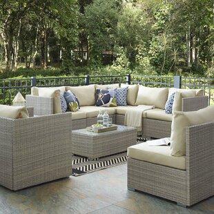 Highland Dunes Heinrich 8 Piece Rattan Sunbrella® Sectional Set with Cushions