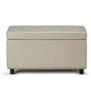 Simpli Home Hannah Faux Leather Storage B..