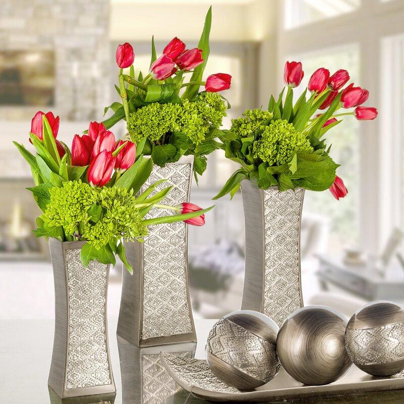 Wayfair & Dublin Silver Flower 3 Piece Table Vase Set