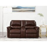 Genie 76.5 Wide Genuine Leather Pillow Top Arm Reclining Loveseat by Winston Porter