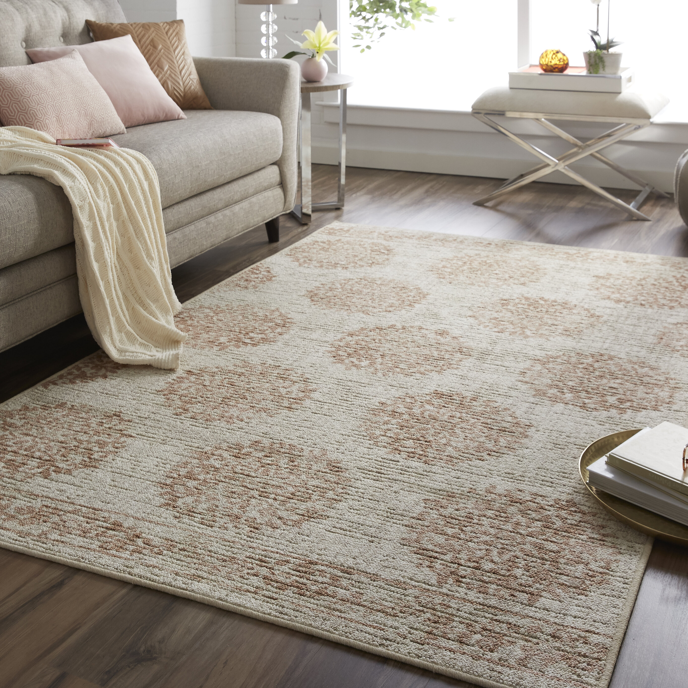 Bungalow Rose Trahan Floral Beige Brown Area Rug Wayfair