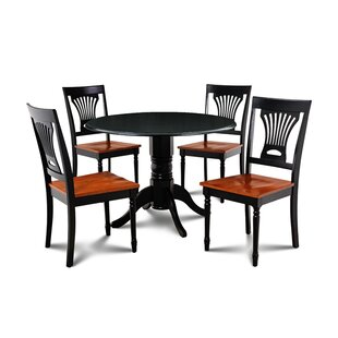 Derek 5 Piece Drop Leaf Solid Wood Dining Set