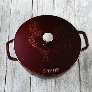 Staub Cast Iron 3.75 Qt. Rooster Round Dutch Oven