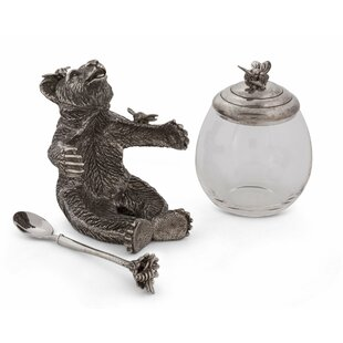 Woodland Creatures Bear Holding a Glass Honeypot with Serving Spoon