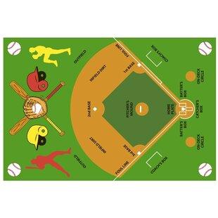Fun Time Baseball Field Kids Rug