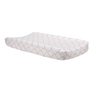 Pink Sky Quatrefoil Changing Pad Cover