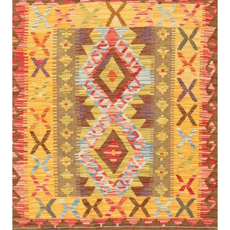 East Urban Home Contemporary Brown Yellow Pink Area Rug Wayfair