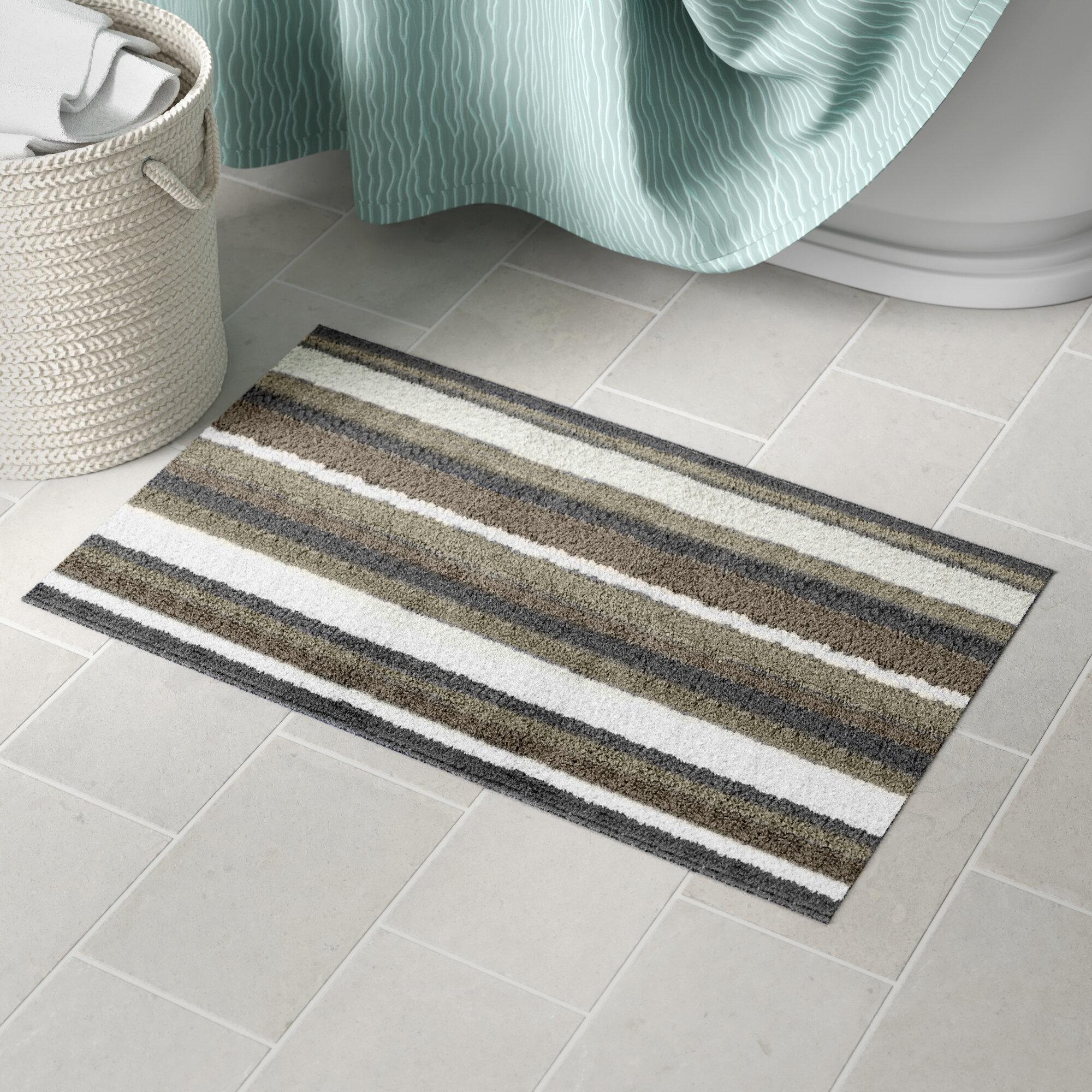 Three Posts Lefever Rectangle 100 Cotton Reversible Striped Bath Rug Reviews Wayfair