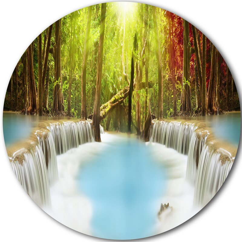 Designart Huai Mae Kamin Waterfall Graphic Art Print On Metal Wayfair