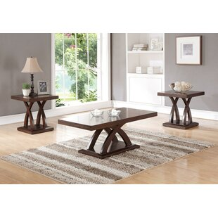 Holyfield Wooden Top and Base 3 Piece Coffee Table Set
