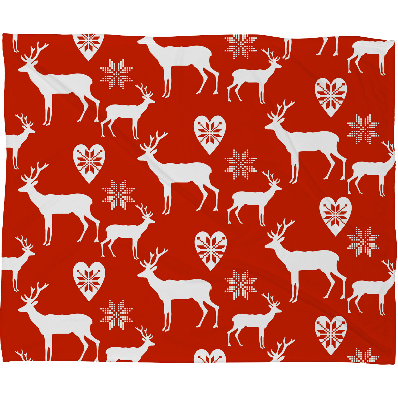 deny designs natt christmas deer plush fleece throw blanket wayfair