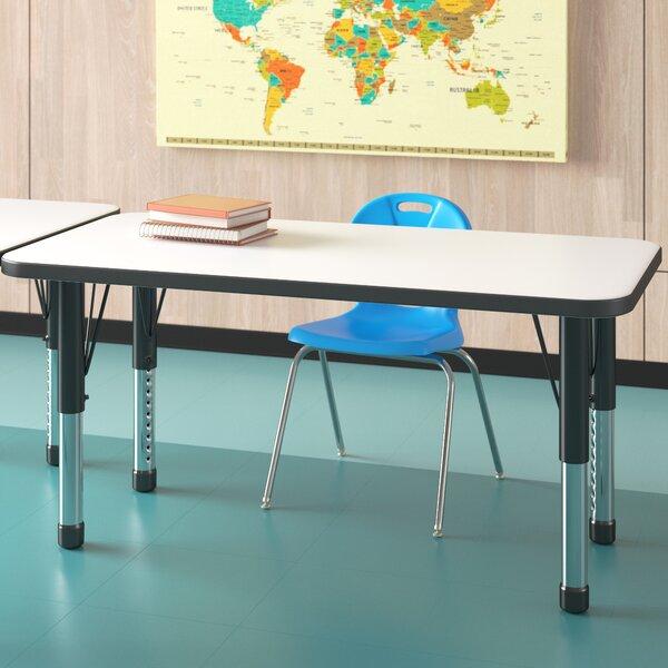 ECR4Kids Mesa Dry-Erase 24 x 48 Rectangular School Activity Table Black Toddler Legs w//Swivel Glides Adjustable Height 15-23 inch