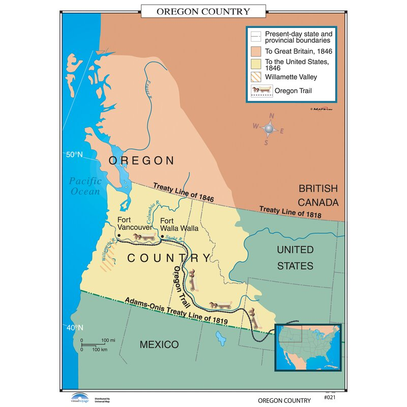 Oregon On Us Map Universal Map U.S. History Wall Maps   Oregon Country