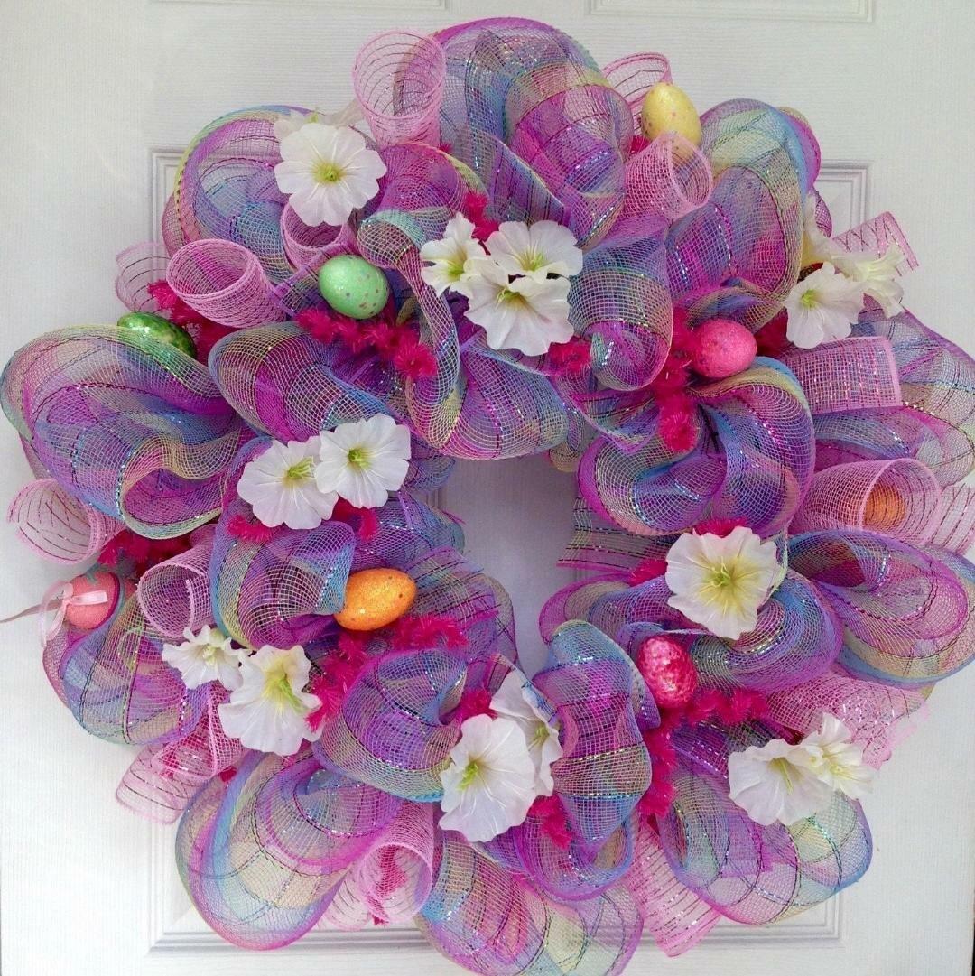 Glittering Lavender Happy Easter Deco Mesh Handmade Wreath Home Decor Home Kitchen