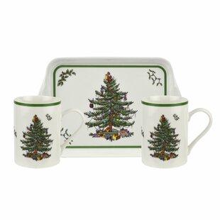 Christmas Tree 3 Piece Melamine Coffee Mug Set