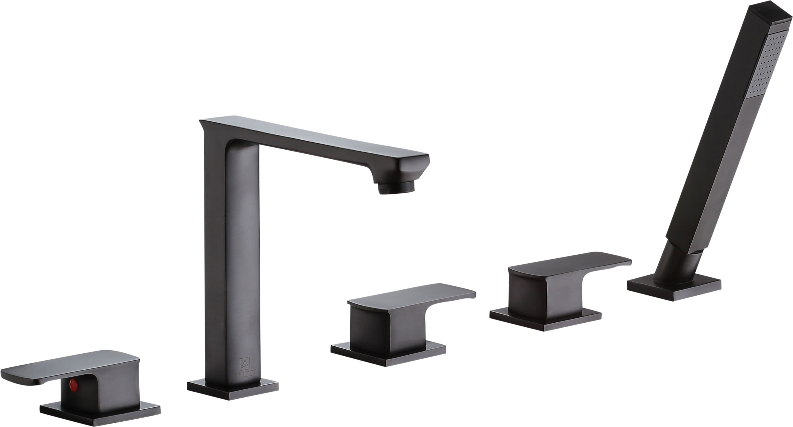 Anzzi Shore Triple Handle Deck Mounted Roman Tub Faucet With Diverter And Handshower Perigold