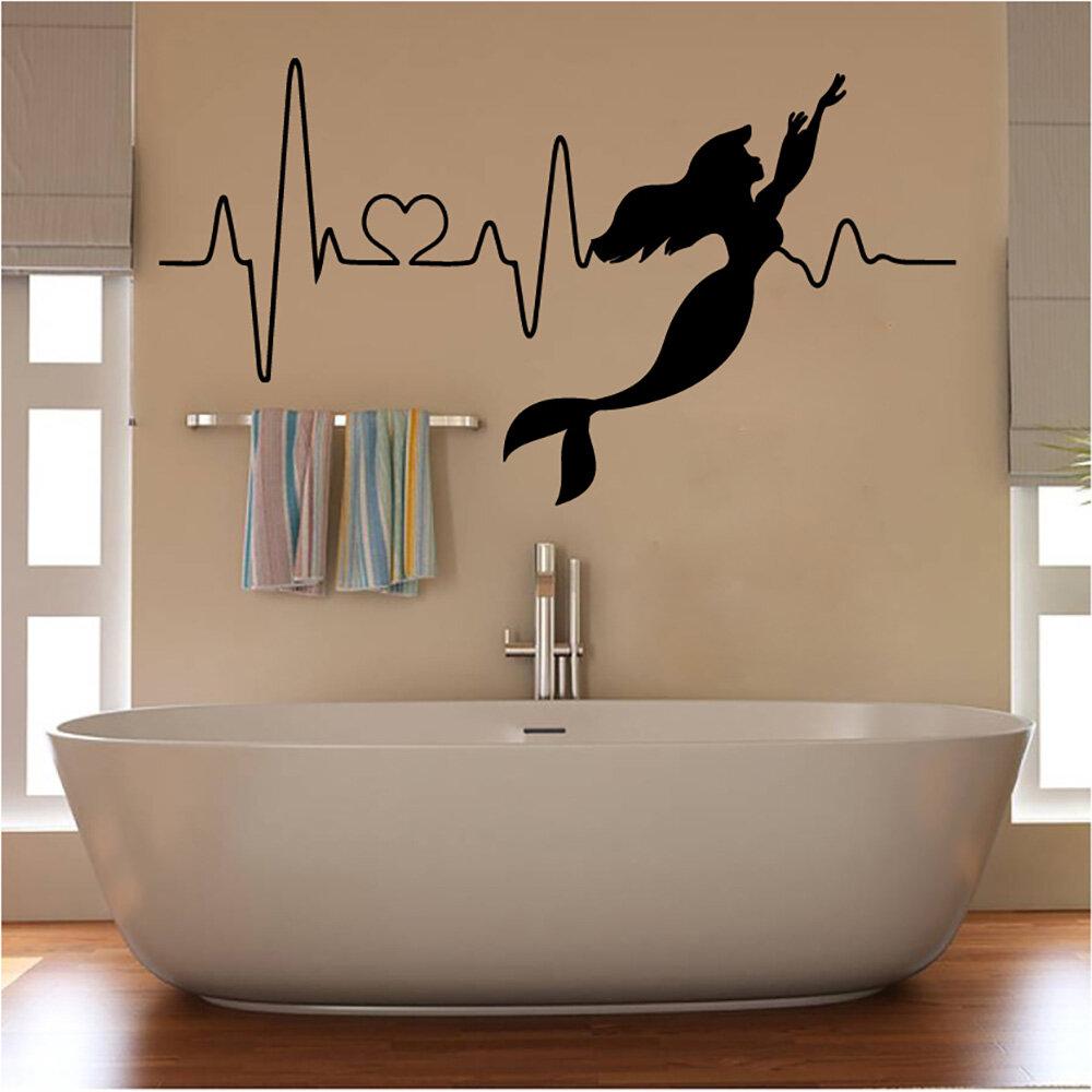 Ebern Designs Mermaid Heartbeat Vinyl Words Wall Decal Wayfair