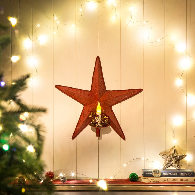 The Holiday Aisle Iron Star Wall Sconce with LED | Wayfair