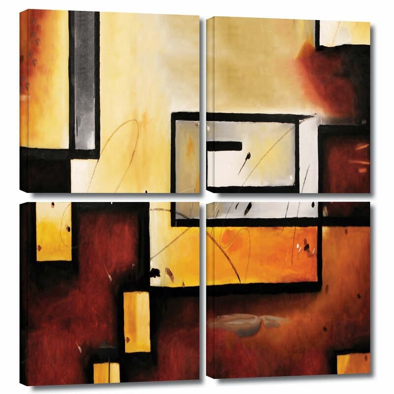 Abstract Modern By Jim Morana 4 Piece Painting Print On Wrapped Canvas Set