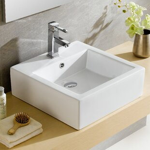 Fine Fixtures Modern Ceramic Square Vessel Bathroom Sink with Overflow