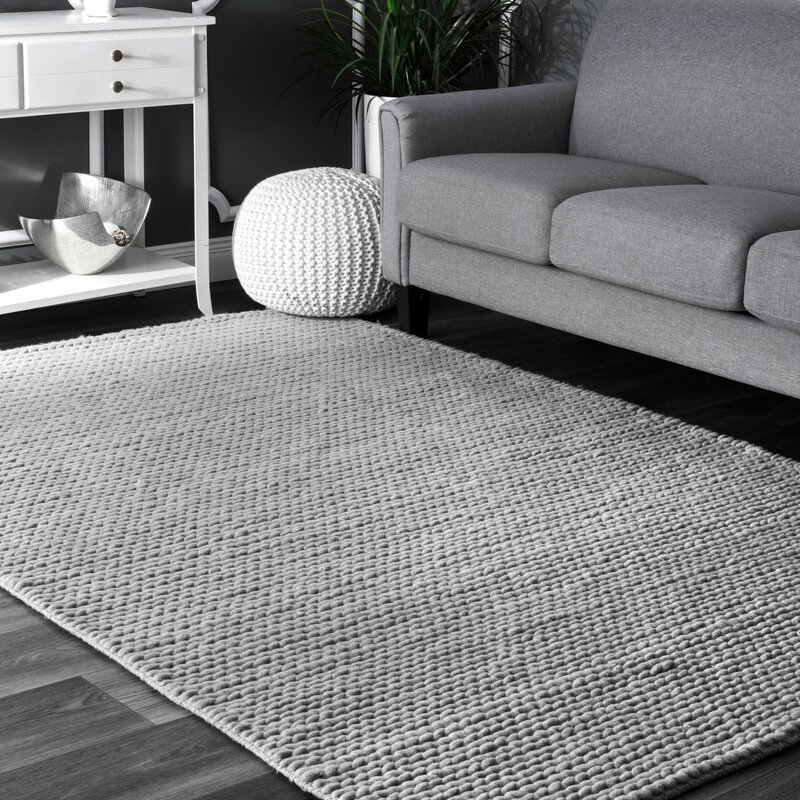 Makenzie Hand Braided Wool Light Gray Area Rug