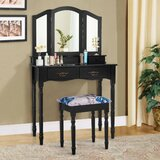 Kandace Makeup Vanity Set with Stool and Mirror by Canora Grey