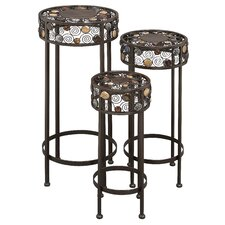 3 Piece Ornate Wrought Iron Plant Stand Set by ABC Home Collection