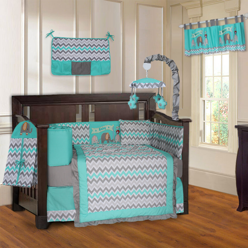 Babyfad Elephant Chevron ZigZag 10 Piece Crib Bedding Set & Reviews ...