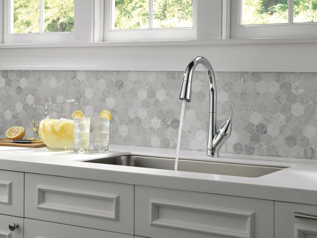 delta esque single handle pull down kitchen faucet reviews wayfair default name