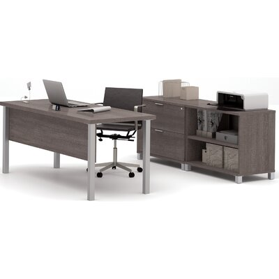 Comm Office Heyworth 3-Piece Desk Office Suite Color: Bark Grey