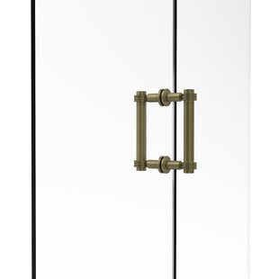 Contemporary 6 Back to Back Shower Door Pull with Dotted Accent by Allied Brass