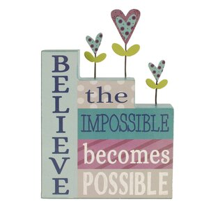 'Believe The Impossible' Stacked Letter Block