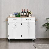 Trevin Rolling Trolley Kitchen Island with Rubberwood Top by Gracie Oaks