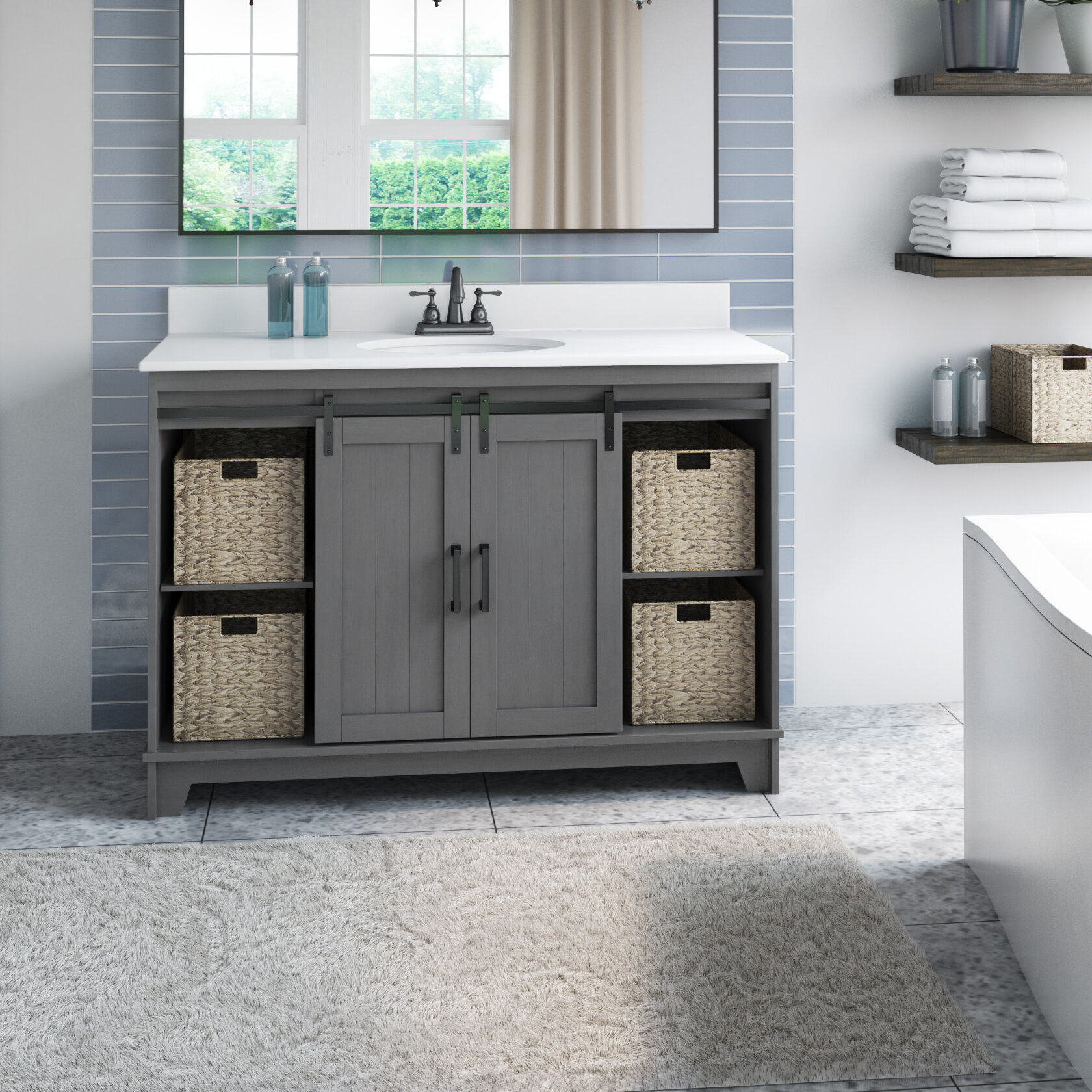 Gracie Oaks Trogdon Sliding Barn Door 49 Single Bathroom Vanity Set Reviews Wayfair