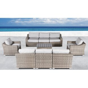 Rosecliff Heights Huddleson 5 Piece Rattan Sectional Set