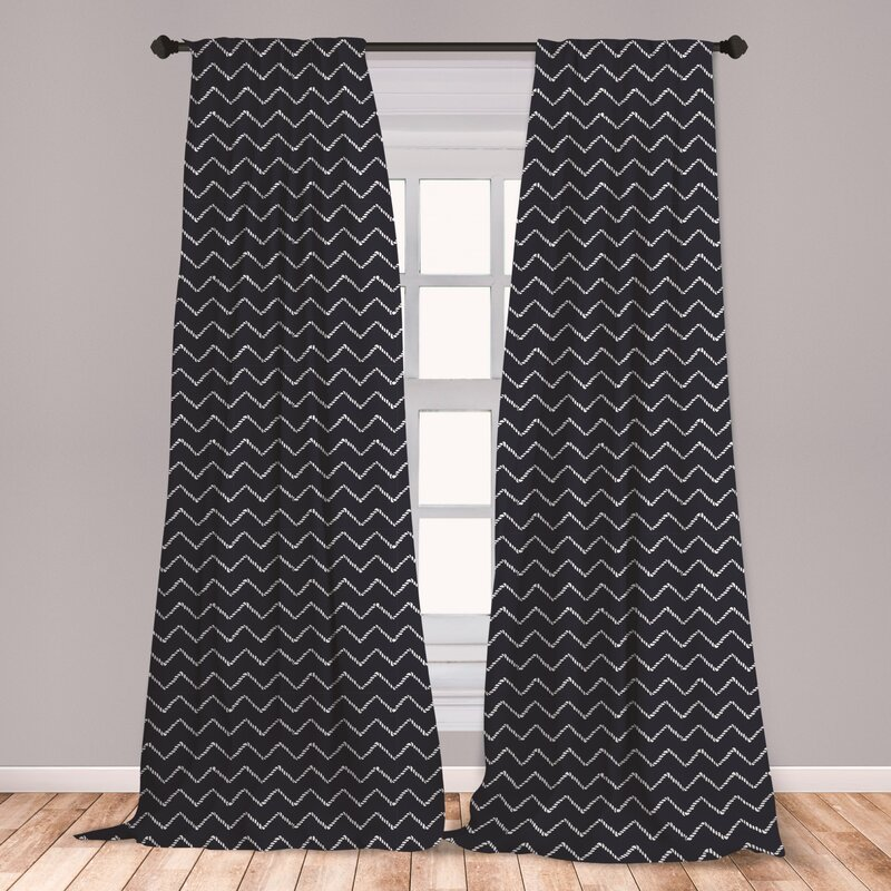 East Urban Home Ambesonne Navy Blue Curtains, Chevron