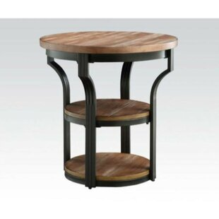 Brasher Round Metal Framed End Table
