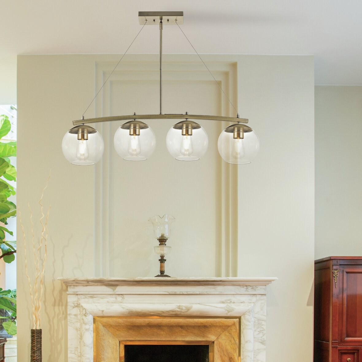 Antique Brass Clear Glass Shade Kitchen Island Lighting You Ll Love In 2021 Wayfair