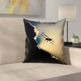East Urban Home Plane In The Clouds Square Indoor Throw Pillow Wayfair