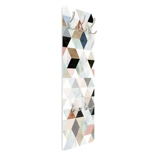Watercolour Triangle Mosaic I Wall Mounted Coat Rack By Symple Stuff