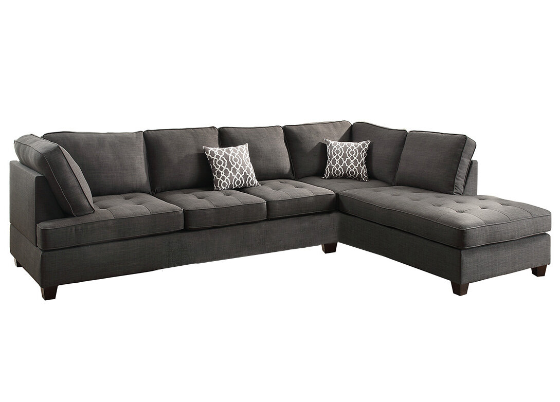 dp hudson sectional poundex amazon microsuede chocolate com bobkona dining sofa kitchen reversible seat