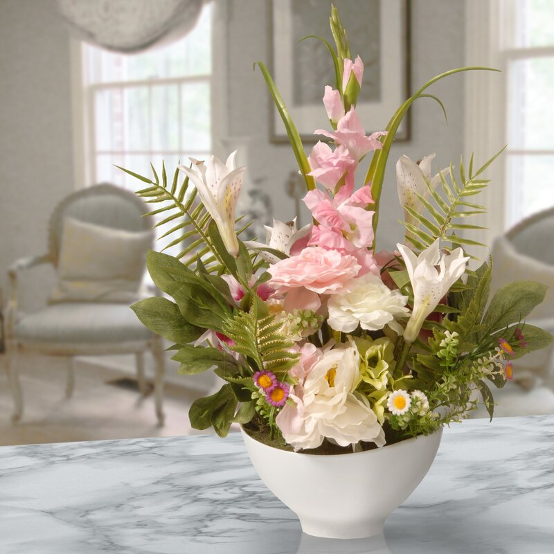 floral home decor orchid floral design wayfair.htm bay isle home mixed floral arrangement in pot   reviews wayfair  bay isle home mixed floral arrangement