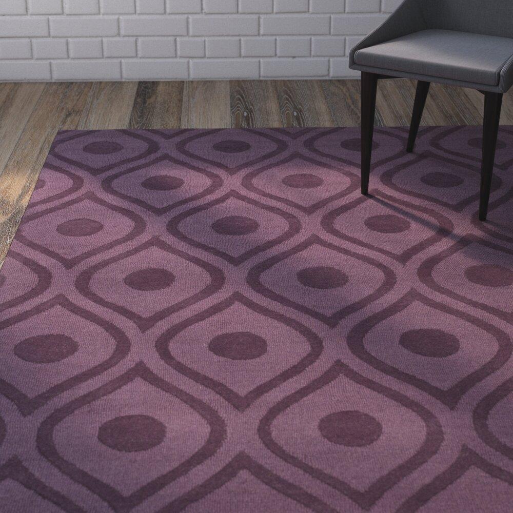 Wrought Studio Zora Geometric Handmade Wool Dark Purple Area Rug Reviews Wayfair