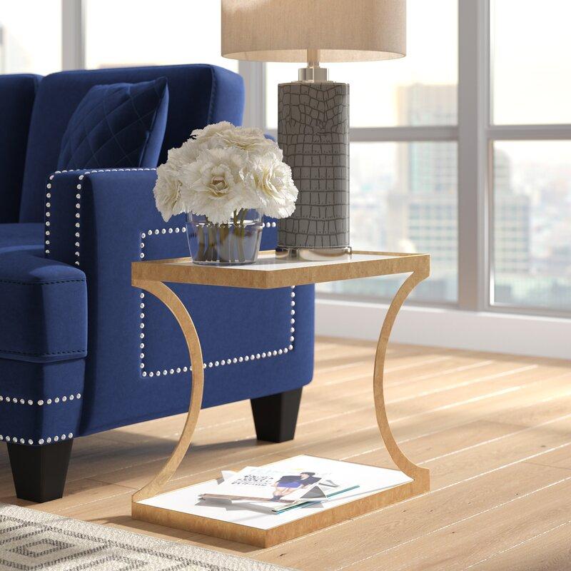 Willa Arlo Interiors Rex Glass Top Floor Shelf End Table With Storage Reviews Wayfair