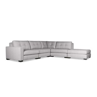 Brayden Studio Brose Buttoned Modular Sectional with Ottoman