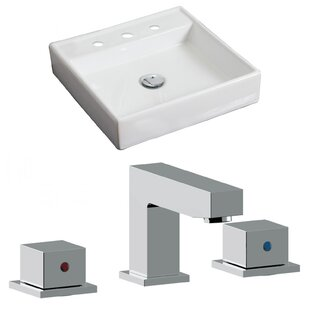 Best Ceramic 18 Wall Mount Bathroom Sink with Faucet and Overflow ByAmerican Imaginations