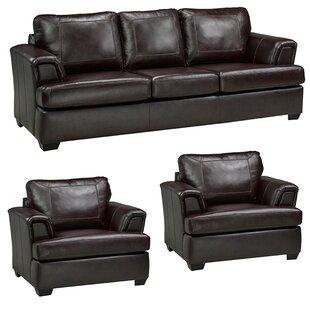 Verano Leather 3 Piece Living Room Set by Loon Peak