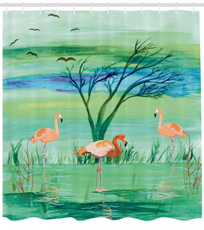 Flamingo Shower Curtain Set Hooks